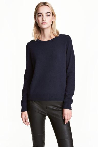 Cashmere top - Dark blue -  | H&M CN