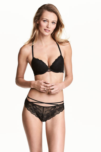 Lace Brazilian briefs - Black - Ladies | H&M 1