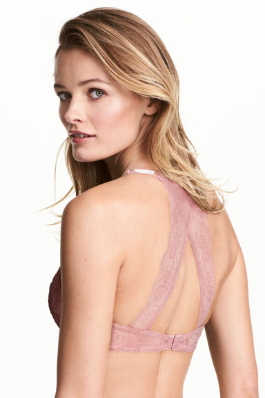 Push-up bra with a lace back - Vintage pink - Ladies | H&M CN 1