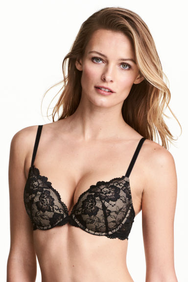 Super push-up lace bra - Black/Nougat -  | H&M 1