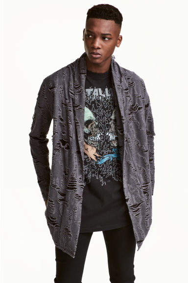 Trashed cardigan - Dark grey - Men | H&M CN