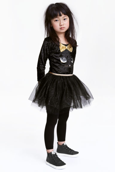 Dance dress with Alice band - Black/Cat  - Kids | H&M 1