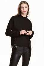 Sweatshirt with lacing - Black - Ladies | H&M 1