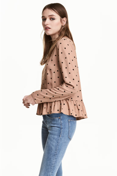 荷葉邊下襬女衫 - Beige/Spotted - Ladies | H&M