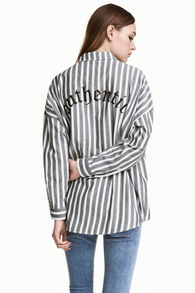 Wide cotton shirt - White/Striped - Ladies | H&M 1