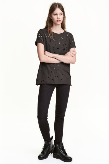 Trashed T-shirt - Black - Ladies | H&M CN 1