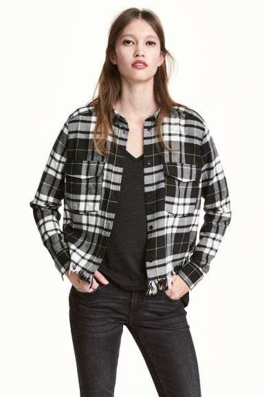 Cropped flannel shirt - Black/White/Checked - Ladies | H&M CN
