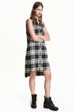 Sleeveless shirt dress - Black/White/Checked - Ladies | H&M 1