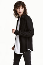 Straight-cut viscose shirt - Black - Men | H&M 1