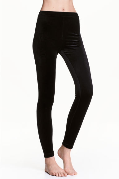 Velour leggings - Black - Ladies | H&M CN
