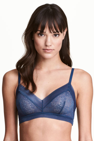 Non-wired lace bra - Storm blue - Ladies | H&M 1