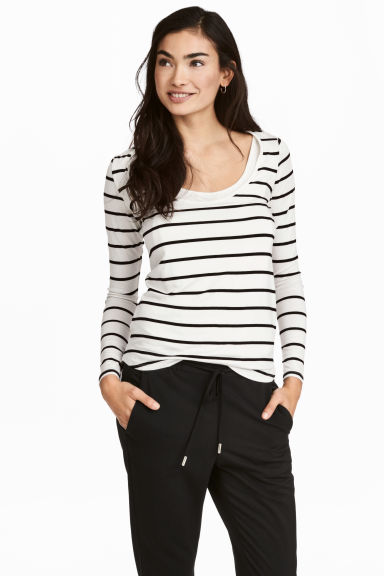 MAMA Nursing top - White/Striped - Ladies | H&M