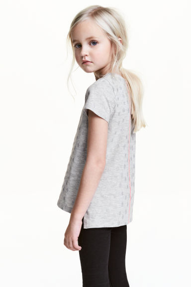 Printed top - Grey/Glitter -  | H&M 1