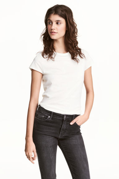 Jersey top - White - Ladies | H&M CN