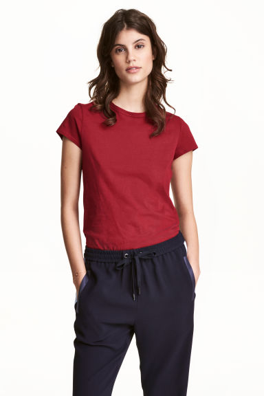 T-shirt in jersey - Rosso scuro - DONNA | H&M IT 1