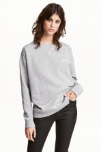 Printed sweatshirt - Grey marl - Ladies | H&M CN 1