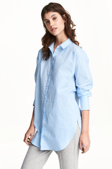 長版棉質襯衫 - Light blue - Ladies | H&M 1