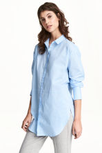Long cotton shirt - Light blue - Ladies | H&M CN 1