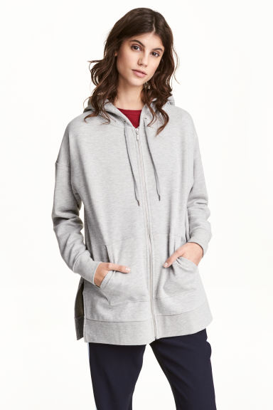Long hooded jacket Model