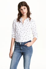 Cotton shirt - White/Spotted -  | H&M 1