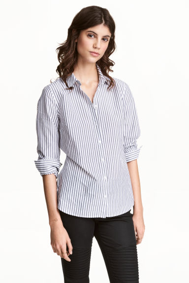 Cotton shirt - White/Blue striped - Ladies | H&M