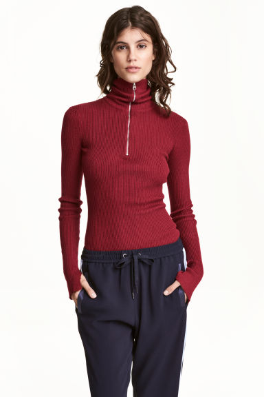 Polo-neck jumper with a zip - Dark red - Ladies | H&M
