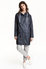 Rain coat with a hood - Dark blue - Ladies | H&M CN 1