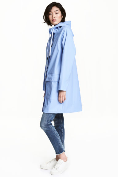 Rain coat with a hood - Light blue - Ladies | H&M CN