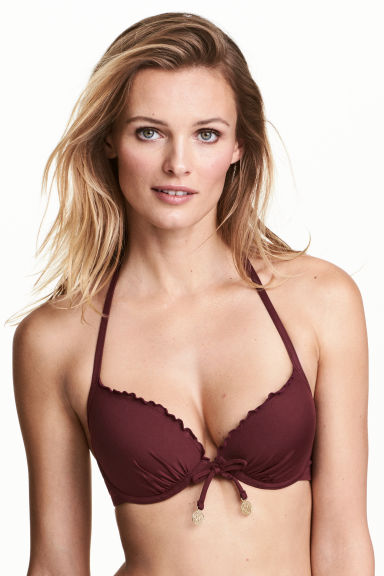 Push-up bikini top - Burgundy - Ladies | H&M 1