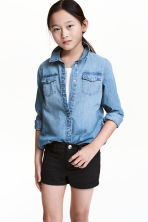 Long denim shirt - Denim blue -  | H&M CN 1