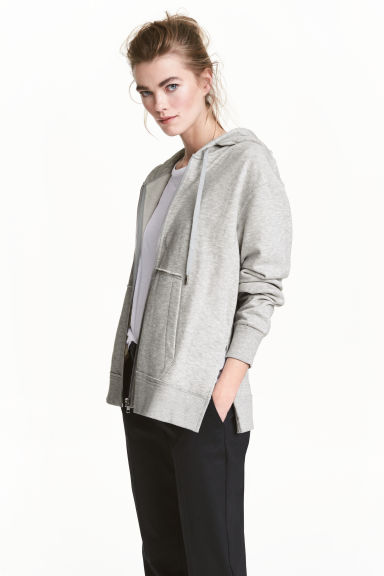 Hooded jacket - Light grey marl - Ladies | H&M 1