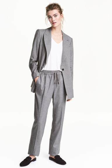 Pull-on trousers - Grey/Pinstripe - Ladies | H&M CN 1