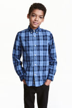 Cotton shirt - Dark blue/Checked - Kids | H&M CA 1