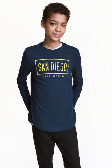 Long-sleeved T-shirt - Dark blue/San Diego - Kids | H&M 1