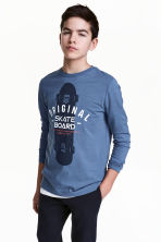 Long-sleeved T-shirt - Blue/Skateboard - Kids | H&M 1