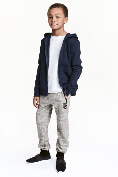 Printed joggers - Light grey marl -  | H&M CN 1