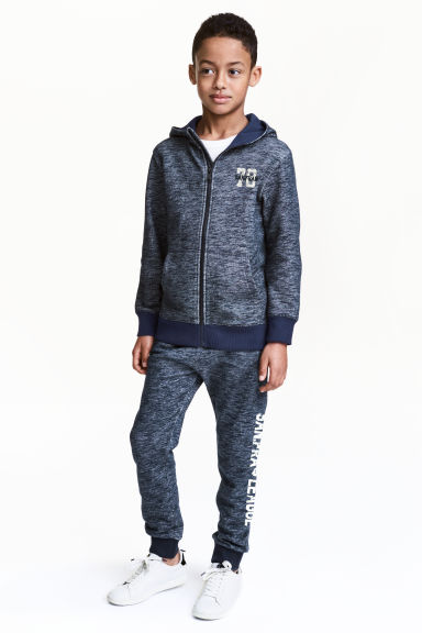 Printed joggers - Dark blue marl - Kids | H&M