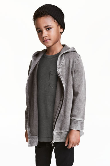 Hooded sweatshirt cardigan - Grey washed out -  | H&M