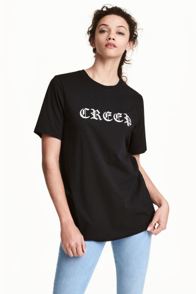 Printed T-shirt - Black - Ladies | H&M 1