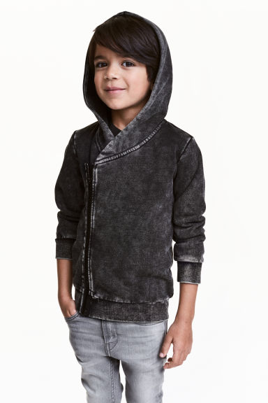 Hooded sweatshirt cardigan - Black washed out -  | H&M CN