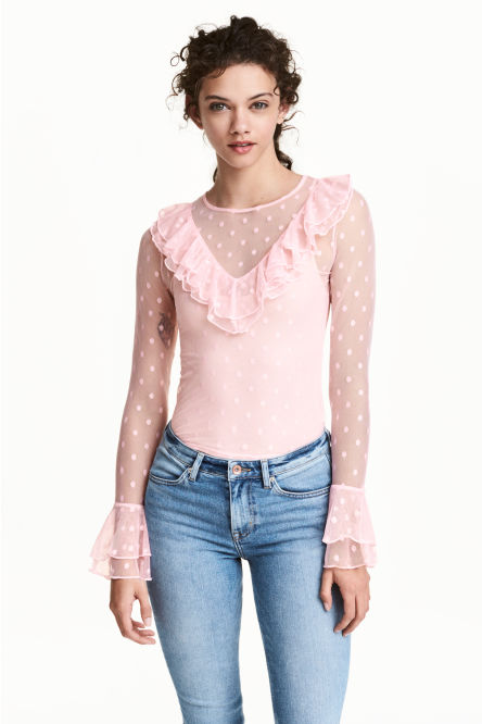 Mesh frilled top