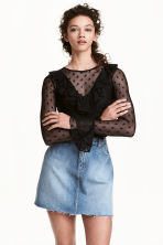 Mesh frilled top - Black - Ladies | H&M 1