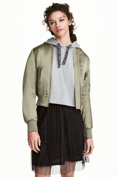 Padded bomber jacket - Khaki green - Ladies | H&M CN 1
