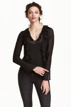 Frilled blouse - Black - Ladies | H&M 1