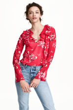Frilled blouse - Red/Floral - Ladies | H&M CN 1