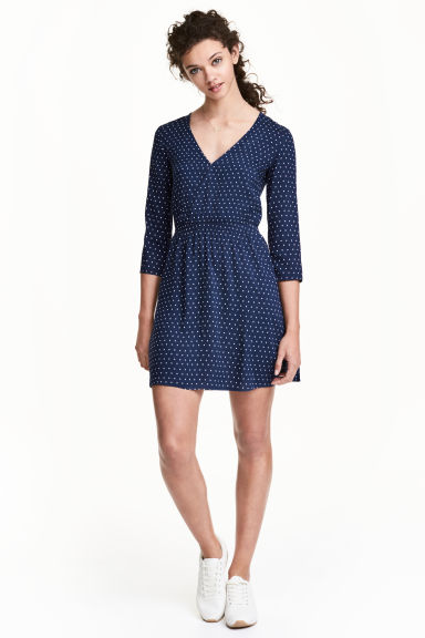 Abito con scollo a V - Blu scuro/pois -  | H&M IT 1