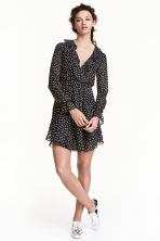 Wrap dress - Black/Spotted - Ladies | H&M CN 1