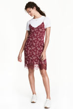 Slip dress - Burgundy/Floral - Ladies | H&M CN 1