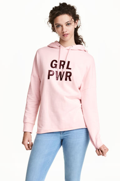 Printed hooded top - Light pink - Ladies | H&M 1