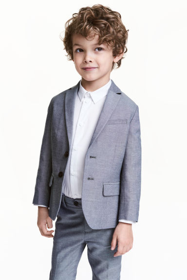 Textured-weave blazer - Dark blue marl - Kids | H&M 1